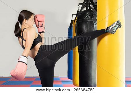 Female Boxer Hitting A Huge