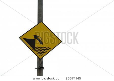 Traffic sign depicting falling off a ledge