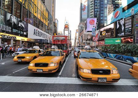 NEW YORK CITY - SEPTEMBER 4: Crown Victoria Taxis, which may be phased out for hybrids, on Broadway in Times Square, September 4, 2010 in New York City.