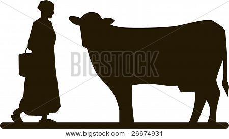 Vaca y mujer