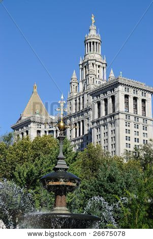 The Municipal Building from City Hall Park in New York City.