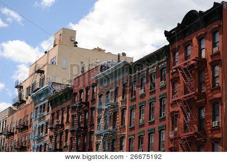 Urban tenements in Manhattan's Lower East side.