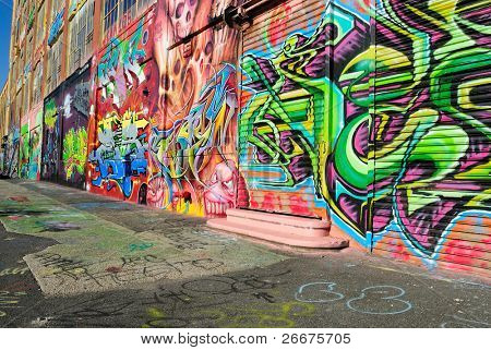 QUEENS - OCTOBER 7: Five Pointz, a world renown outdoor exhibit space featuring the works of numerous graffiti artists October 7, 2010 in Queens, New York.