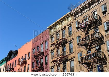 Generic New York City style tenement structures in Lower Manhattan.