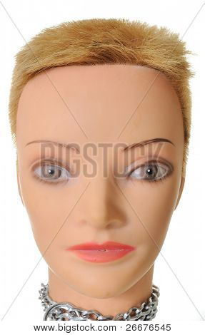 Female Mannequin Head with short hair isolated on white.