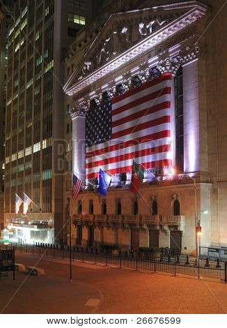 NEW YORK CITY - MAY 26: The historic New York Stock Exchange, one of the largest stock exchanges in the world, illuminated at night May 26, 2010 in New York, New York.