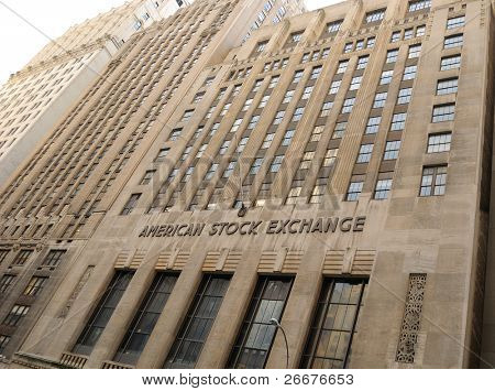 NEW YORK CITY - FEBRUARY 17: The historic American Stock Exchange (AMEX) is now controlled by the NYSE but was originally formed by  curbstone brokers February 17, 2010 in New York, NY.