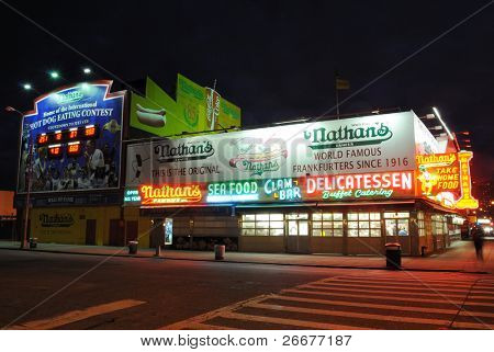 "BROOKLYN, NEW YORK - OCTOBER 25: Nathan's Hot Dogs has operated since 1916 in Coney Island and is host to the world renown ""Nathan's Hot Dog Eating Contest,"" October 25, 2010 in Brooklyn, New York."