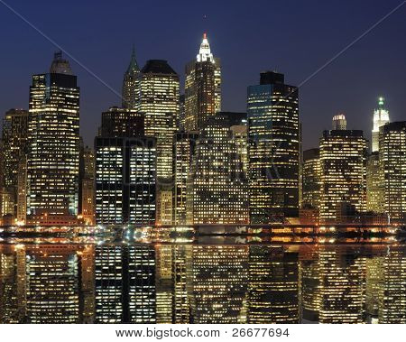 High rises along Lower Manhattan in New York City.