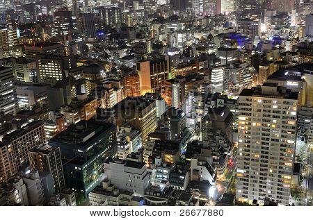 Urban sprawl in Minato, Tokyo, Japan.