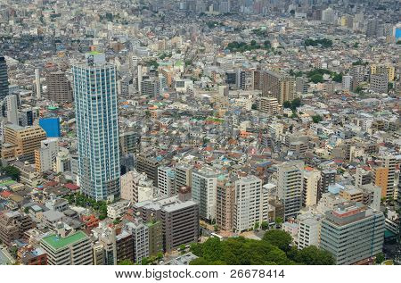 Aerial view of Tokyo, Japan cityscape in Shinjuku.