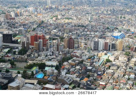 View of Shinjuku Ward in Tokyo, Japan.