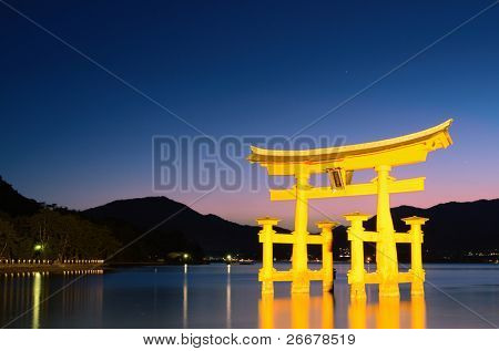 The otori gate which welcomes visitors to Miyajima, Japan.