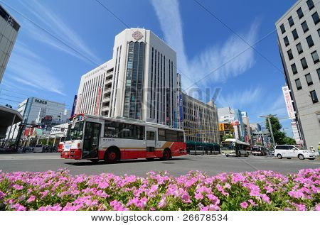 HIROSHIMA, JAPAN - JULY 16: Located on a delta, Hiroshima opted to keep their tram and bus lines in the 1980's while other cities abandoned them for subway systems July 16, 2011 in Hiroshima, Japan.