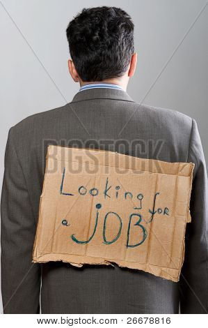 Man With Cardboard Sign Looking Job