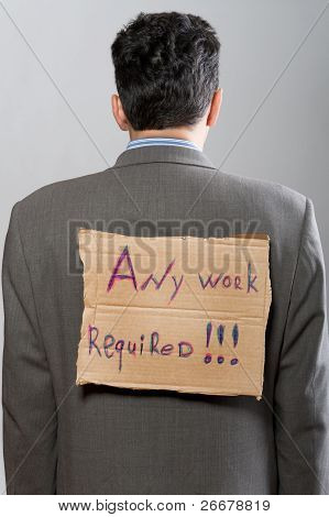 Man With Cardboard Sign Any Work