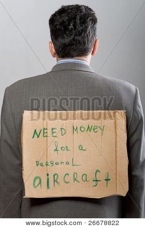 Man With Cardboard Sign Need Money