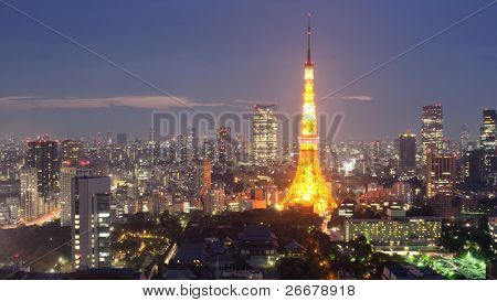 Landmark Tokyo Tower in Minato Ward, Tokyo, Japan.