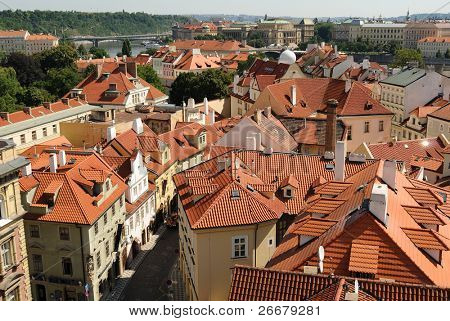 Aerial view of Mala Strana in Prague, Czech Republic.