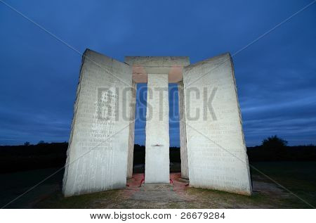 ELBERT, GEORGIA - OCTOBER 12: The Georgia Guidestones, occasionally referred to as