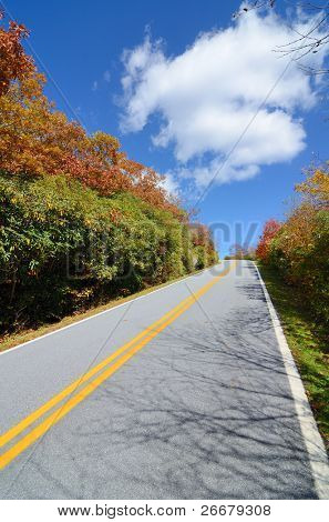 Road in the Blue Ridge Mountains during fall season from Brasstown Bald, the highest elevation in the state of Georgia, USA.
