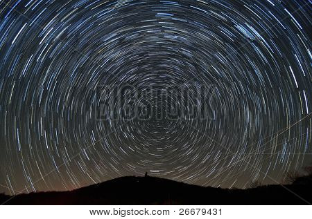 Star trails above Brasstown Bald, the highest elevation in the state of Georgia, USA.
