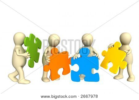Four Puppets, Holding In Hands A Puzzle Of Multi Color