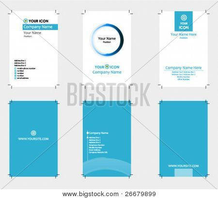 3 cartões de visita de tema azul com sangramento (pronto para imprimir)