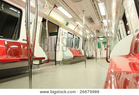 Inside of modern train in Singapore