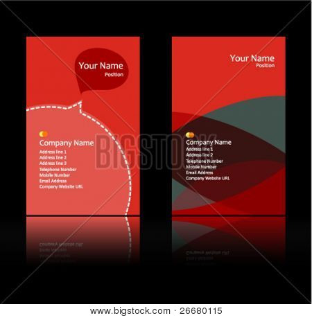 red theme business card
