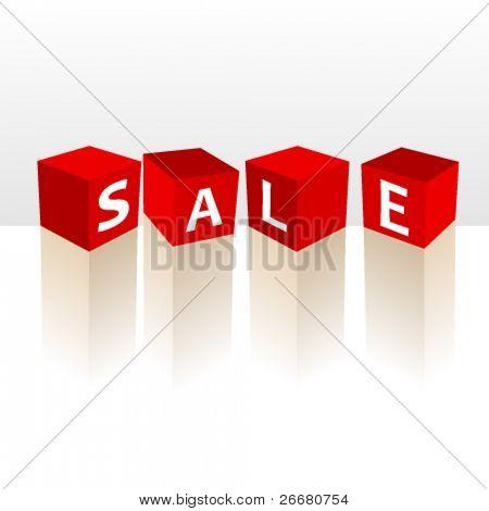 Vector discount 3D sale cubes