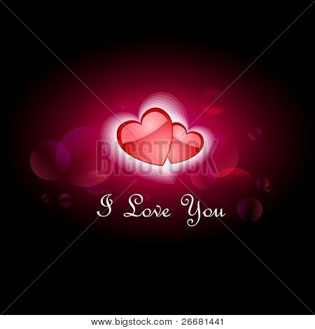 Glittering lights background with hearts - I Love You