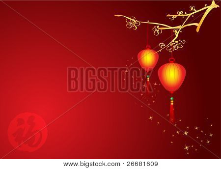 Chinese New Year Background with lanterns hanging on plum branch.
