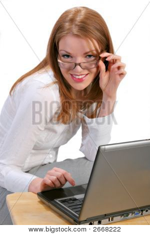Young Businesswoman In Front Of A Computer
