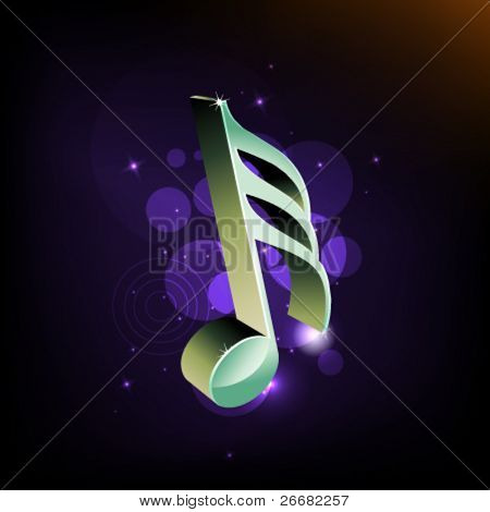3D clef symbol on a abstract light background