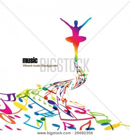 Abstract music background with tunes and dancer.