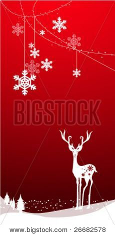 christmas deer with snowflakes, vector background