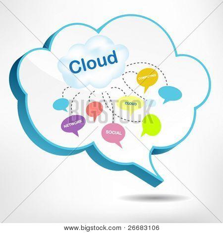 Cloud 3D diseño de burbuja para el concepto de cloud computing