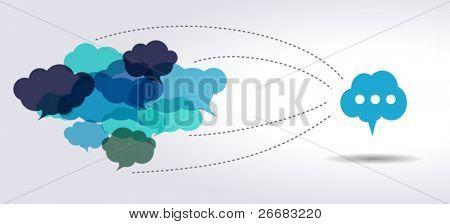 conectado a nuvem azul balões de fala