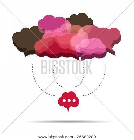 3D cloud speech bubbles are connecting