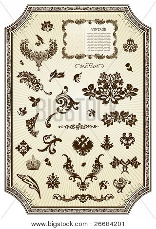 Floral vintage royal design element. Vector illustration