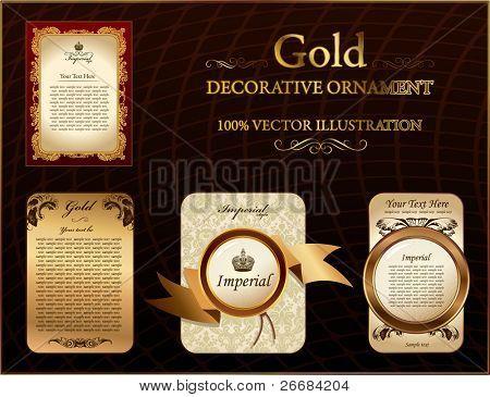Gold Vitnage Bezeichnung dekorative Verzierung. Vektor-illustration