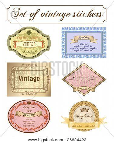 Vector vintage set. Romantic frames ornate label illustration