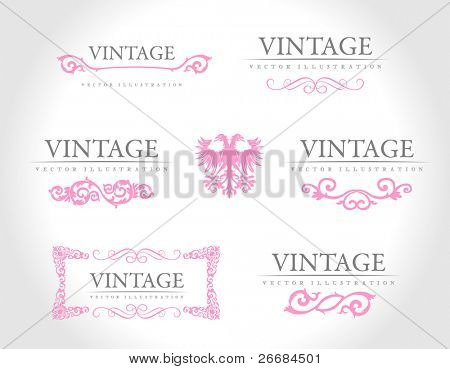 Baroque vintage royal design elements. Vector illustration