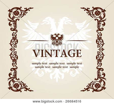 vector vintage heraldic imperial frame eagle decor