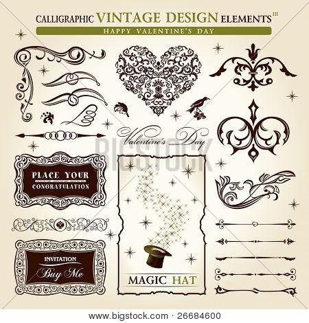 calligraphic elements vintage vector set. Happy valentine day decor