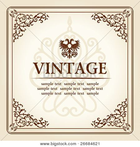 vintage curves floral frame ornament. vector illustration