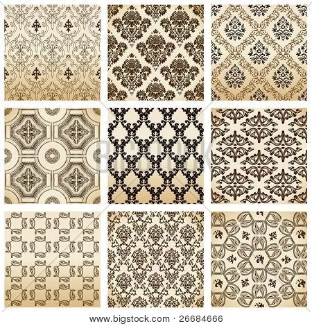Raster set seamless wallpaper old flower decorative vintage. Vector copy search in my portfolio