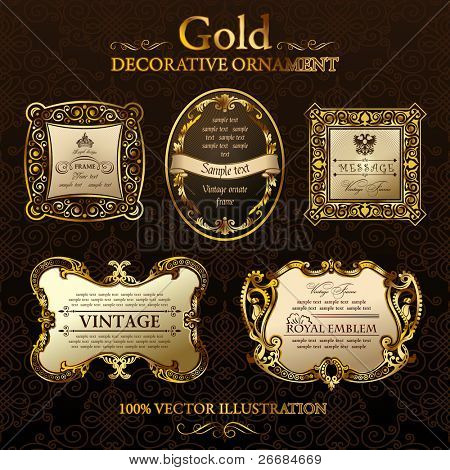 Vector vintage frames. Gold ornament label. Set five illustrations