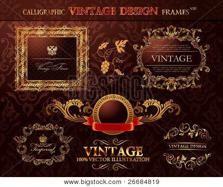 Vintage royal gold frames ornament set. Vector element decor